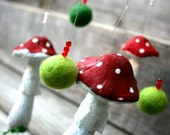"Mushroom toadstool wall hanging mobile Hand painted decoration 6"" x 20"""