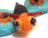 Felted butterfly brooch pin  /blue yellow orange