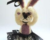 Ballerina bunny  needle felted sad black lace skirt / goth rabbit animal