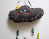 """Linen wall hanging, sad rain cloud 7,5"""" x 3,5"""" embroidered and needle felted     """" After RAIN comes SUN mobile"""""""