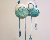 """Felted rain cloud wall hanging mobile sun catcher with bead raindrops 9"""" x 5"""""""