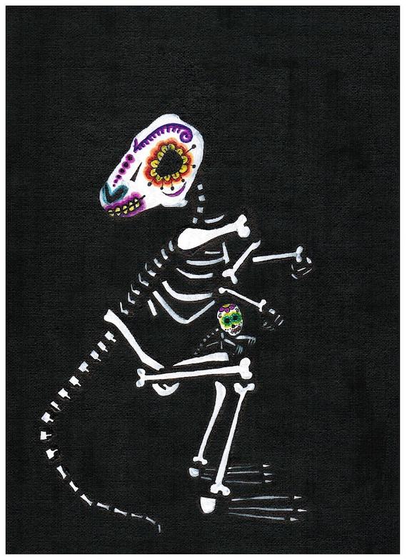 Día de los Muertos   painting   original  KANGAROO with a baby on canvas paper (acrylics, mixed media) 9 inches x 12 inches, original