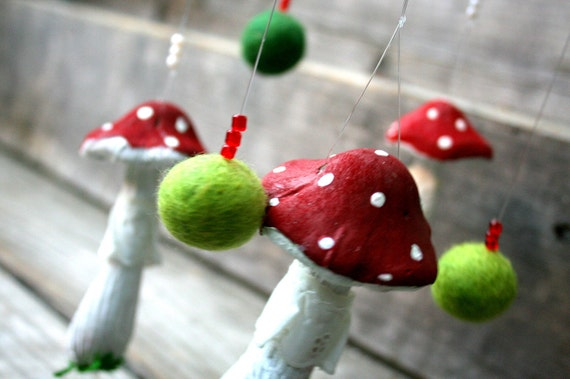 """Mushroom toadstool wall hanging mobile Hand painted decoration 6"""" x 20"""""""