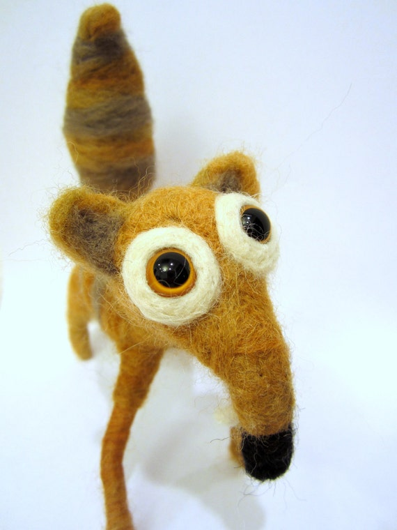 Needle felted squirrel felt animal saber-toothed prehistoric mammal fox