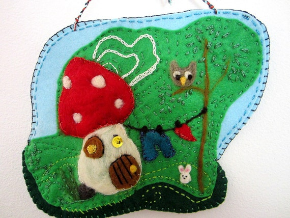 "nursery wall art mushroom wall hanging with an owl and bunny woodland house  10"" x 7,5"""