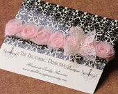 Pink Dainty Roses, Vintage Lace, Swarovski Crystal, Newborn Headband, Super Soft Stretch Band