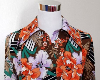French Vintage Dress, 70s Flower Dress, Devernois Dress