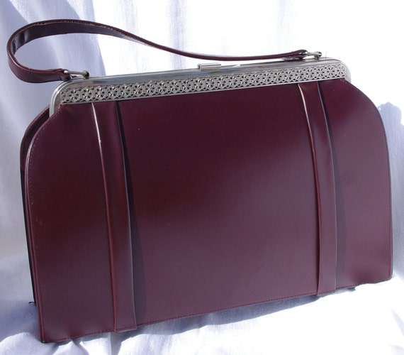 Vintage Burgundy Leather Handbag, French Vintage Purse, 50s Faux Leather Handbag, Burgundy Leather Purse, French Vintage