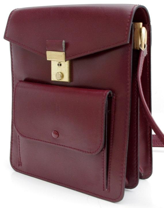 Vintage Messenger Bag, Mulberry Leather Satchel, Burgundy Leather Shoulder Bag, Leather Messenger, Burgundy Bag