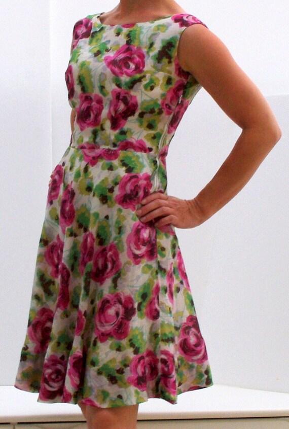 Vintage Dress, Silk Summer Dress, 60s Dress, East German Vintage