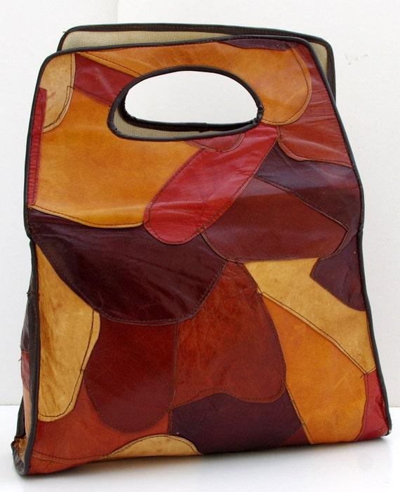 Vintage Patchwork Bag, Leather Patchwork Bag, Leather Shopper