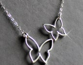 Sterling Silver Jewelry Necklace -Two Butterflies - Mother/Child -  Free US Shipping