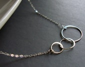 Sterling Silver Jewelry Necklace - Three Entwined Circles - Past, Present, Future- Free U.S Shipping-