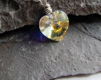 Swarovski Aurora Borealis Heart Necklace - Sterling Silver Jewelry- Free U.S Shipping-