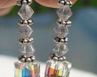 Swarovski Crystal and Sterling Silver dangle earrings.