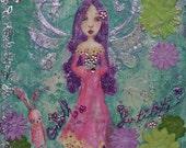 """Ostara Fairy - Print of a mixed media painting - 6""""x6"""" - Magic celebrations fairy"""