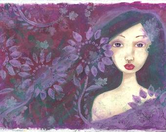 "Aubépine - Print of a mixed media painting - 10,1""x7.1"" - Hawthorn fairy"