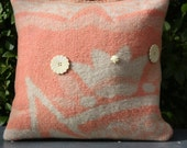 orange beige woolen pillow