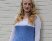 teen tunic in blue and white