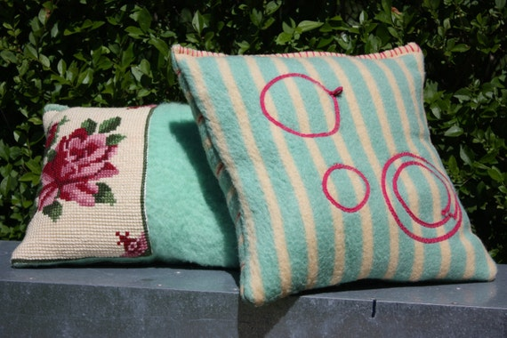 SOLD   pillow made out of a retro blanket. matching pillow in the shop