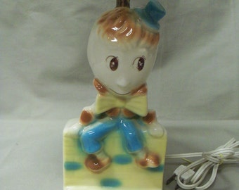 Vintage American Bisque Baby Humpty Dumpty Table Lamp with Shade