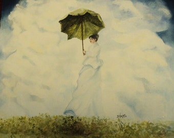 REDUCED-Lady with a Green Umbrella
