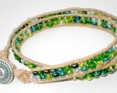 Double Wrap Green Mosaic Beaded Leather Bracelet