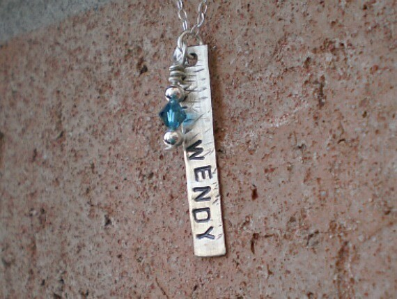 Personalized Rectangular Pendant Hand-Stamped Necklace