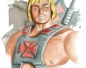 Masters of the Universe Classics watercolor art print:  He-Man