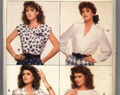Vintage 1988 Butterick Misses' Blouse and Top in Four Styles and Three Sizes Pattern 6085 Sizes 12, 14, 16