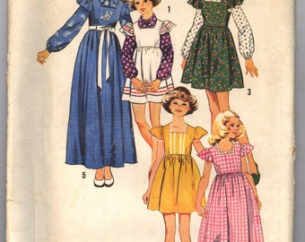 Vintage 1973 Simplicity Girls' Dress or Jumper in Two Lengths and Blouse Pattern 6190 Size 14 UNCUT
