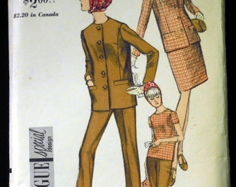 Vintage 1966 Vogue Misses' Jacket, Blouse, Pants and Skirt Pattern 6912 Size 12 Bust 32 UNCUT