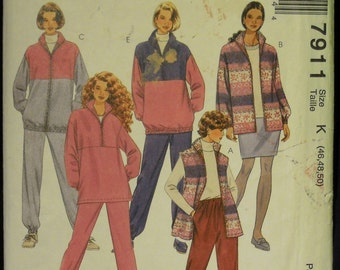 McCall's Women's Vest, Jacket, Top, Pants and Skirt Pattern 7911 Sizes 46, 48, 50 UNCUT