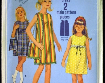 Vintage 1966 Simplicity Girl's One-Piece Jiffy Dress and Bag Pattern 6566 Size 7 UNCUT