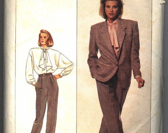 Vintage 1987 Simplicity Misses' Blouse, Pants, and Loose Fitting Lined Jacket Pattern 8340 Size 12 Bust 34