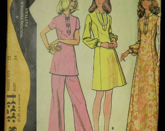 Vintage 1973 McCall's Misses' Dress or Tunic with Pants Pattern 3534 Size 12 Bust 34