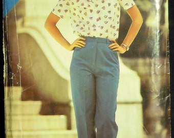 Vintage 1980's Butterick See & Sew Misses' Blouse and Pants Pattern 3019 Sizes 8, 10, 12