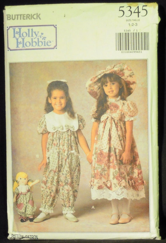 Vintage 1991 Butterick Toddler Girl's Holly Hobbie Dress, Party Pants, Hat and Doll's Party Pants Pattern 5345 Sizes 1, 2, 3