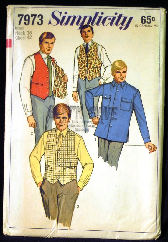 Vintage 1968 Simplicity Men's Shirt and Reversible Vest Pattern 7973 Neck 16 Chest 42
