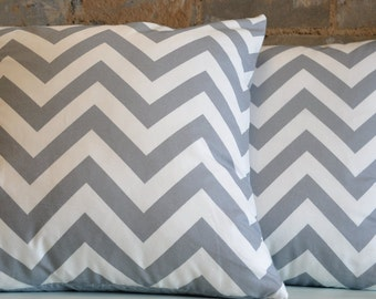 Grey Chevron backed with Paisley - (2) 20x20 Pillow Covers