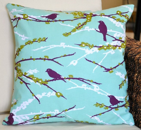 Sparrows in Aqua 16x16 Pillow Cover - Aviary 2 by Joel Dewberry