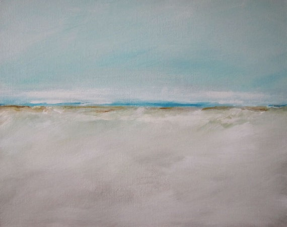 Painting Acrylic Original, Gentle Beach Abstract Seascape - Free Shipping