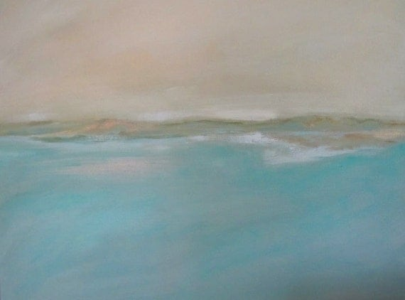 Original Acrylic Painting, Good Harbor Glow,  Abstract Seascape - Free Shipping
