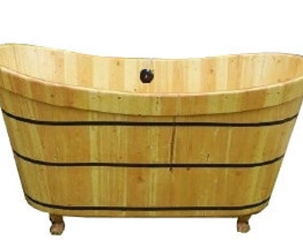 Wooden Clawfoot Bathtub in Pine - Ofuro