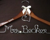 Brides Hanger for Wedding Dress Personalized with Name and Wire Detail