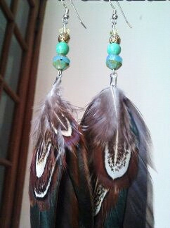 Golden Earth and Feather Earrings