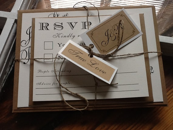 Set-Classy meets Rustic Wedding Invitations with rsvp card