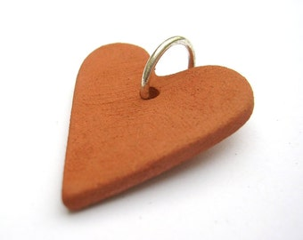 Terracotta heart pendant - handmade earthenware