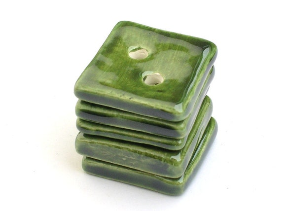 Square green buttons - set of 5 - handmade earthenware
