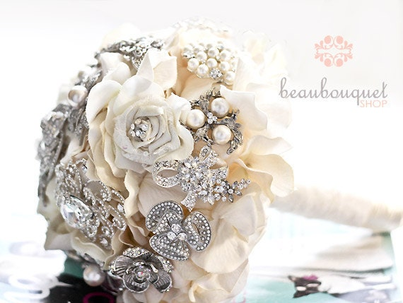 wedding bouquets with bling bridal bouquet deposit made of rhinestone brooches large size 8537